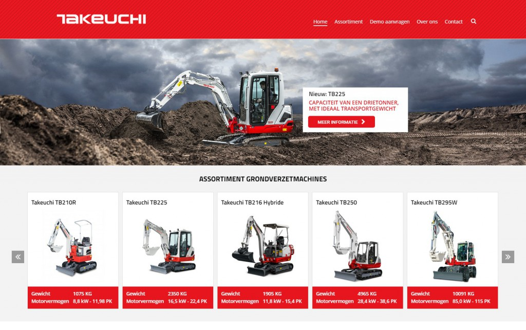 Takeuchi benelux site screenshot